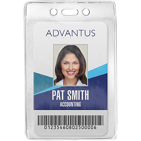 Advantus Vertical Security Badge Holder - Vinyl - 50 / Box