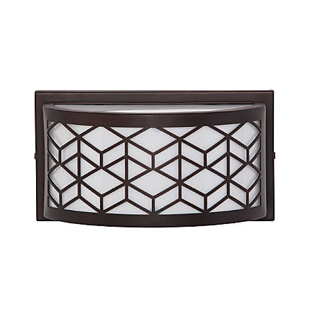 "Southern Enterprises Remy Indoor/Outdoor LED Wall Sconce, 5""H, White Shade/Black Base"