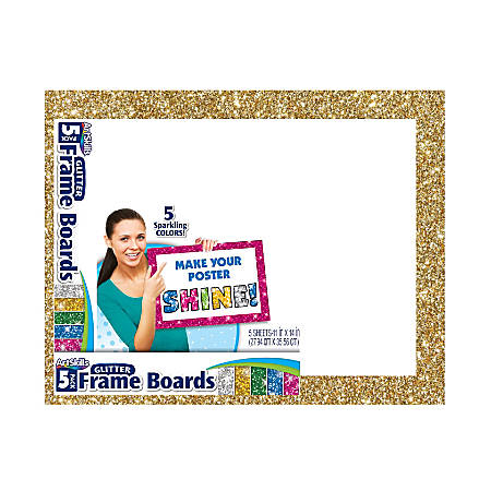 "Artskills® Glitter-Framed Poster Boards, 11"" x 14"", Assorted Colors, Pack Of 5"