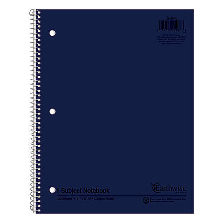 Ampad Oxford Earthwise Recycled 3HP Notebooks, Letter Size, 100 Sheets, Assorted Colors