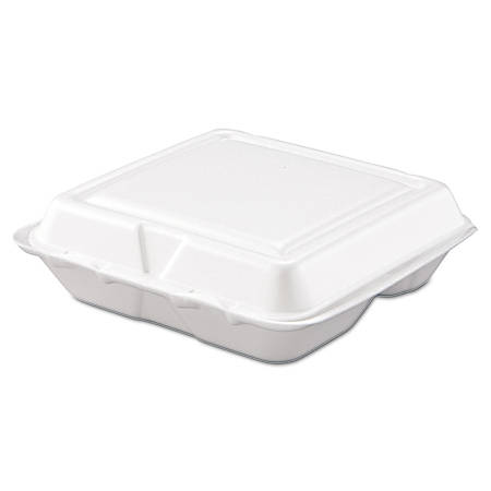 "Dart® Hinged-Lid Carryout Food Containers, 3 Compartments, 2 5/16""H x 7 1/2""W x 8""D, White, Pack Of 200"