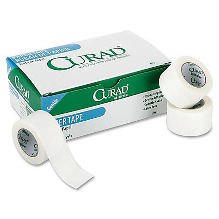 """Curad® Paper Adhesive Tape, 1"""" x 10 Yd, White, Box Of 12"""