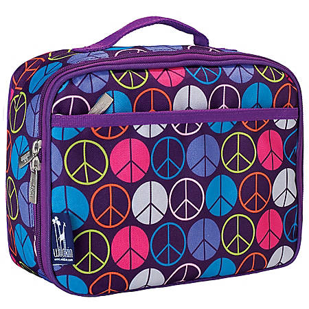 Wildkin Polyester Lunch Box, Purple Peace Signs