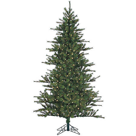Fraser Hill Farm 7 1/2' Southern Peace Pine Artificial Christmas Tree With Clear LED Lighting, Green/Black