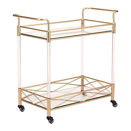 Zuo Modern Lucite 2-Shelf Steel Bar Cart, Gold