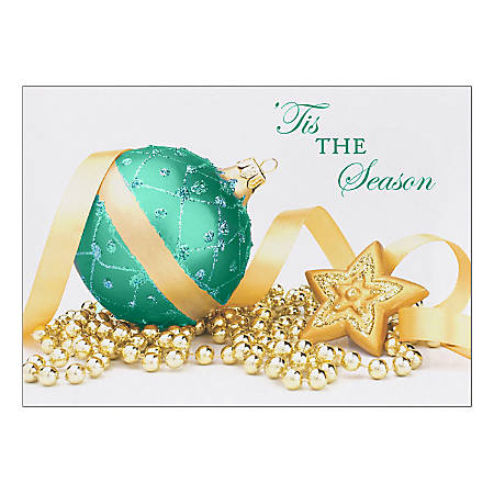 "Custom Embellished Holiday Cards And Foil Envelopes, 7-7/8"" x 5-5/8"", Blue 'Tis The Season, Box Of 25 Cards"