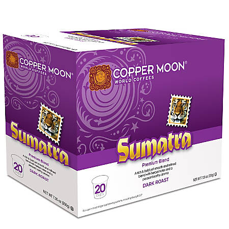 Copper Moon® Coffee Single Serve Cups, Sumatra, 7.76 Oz, Pack Of 20