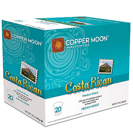 Copper Moon® Coffee Single Serve Cups, Costa Rican, 8.11 Oz, Pack Of 20