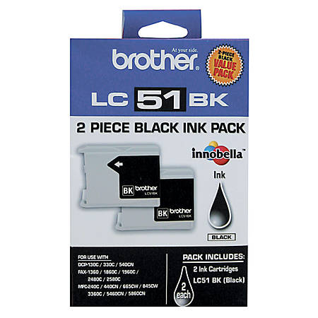 Brother® LC51, Black Ink Cartridges, Pack Of 2