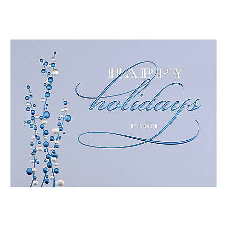 """Custom Embellished Holiday Cards And Foil Envelopes, 7-7/8"""" x 5-5/8"""", Cheerful Blues, Box Of 25 Cards"""
