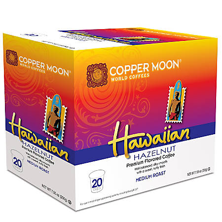 Copper Moon® Coffee Single Serve Cups, Hawaiian Hazelnut, 7.06 Oz, Pack Of 20