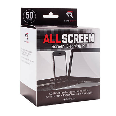 Advantus Read/Right Screen Cleaning Kit - For Display Screen - Alcohol-free, Ammonia-free, Reusable, Antimicrobial, Anti-bacterial, Prevents Germs - MicroFiber - 50 / Box - Assorted