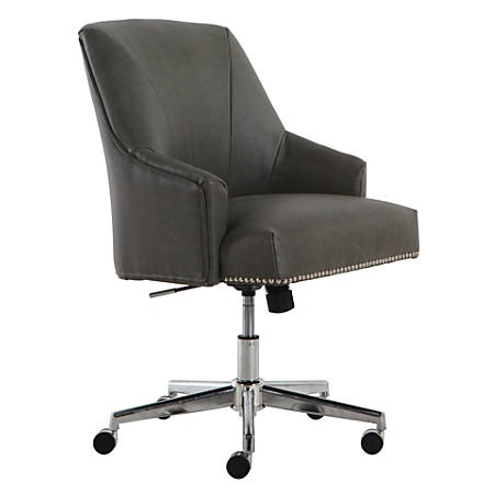 Serta Leighton Home Mid-Back Office Chair, Leather, Gray/Chrome