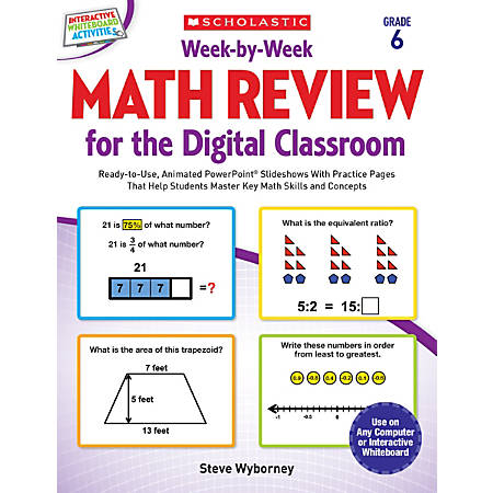 Scholastic Teacher Resources Week-By-Week Math Review For The Digital Classroom, Grade 6