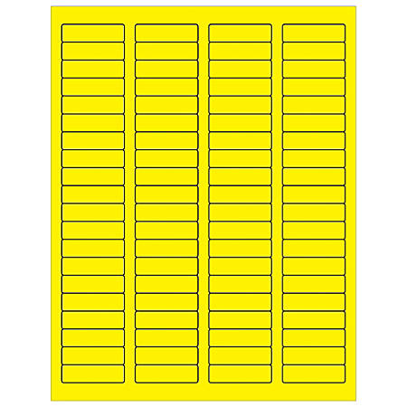 "Office Depot® Brand Labels, LL170YE, Rectangle, 1 3/4"" x 1/2"", Fluorescent Yellow, Case Of 8,000"