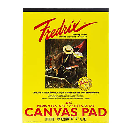 "Fredrix Canvas Pad, 12"" x 16"", 10 Sheets"