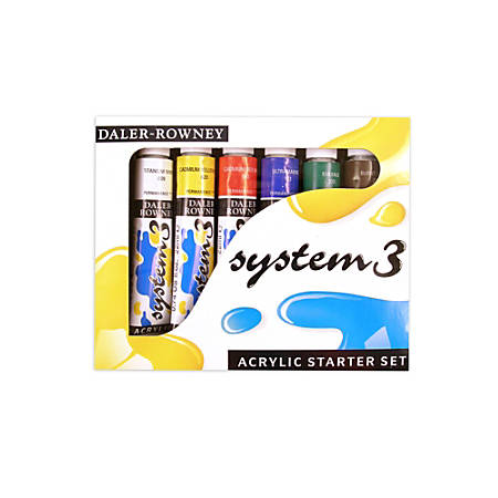 Daler-Rowney System 3 Acrylic Paint Set, Starter Set, 22 mL, Pack Of 6