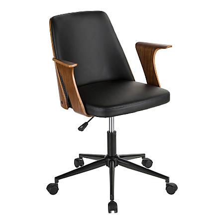 LumiSource Verdana Mid-Century Modern Mid-Back Chair, Black/Walnut