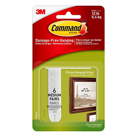 3m Command Damage Free Picture Hanging Strips Medium Pack Of 6