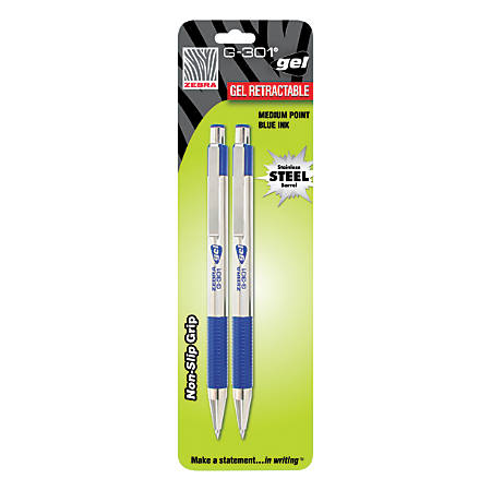Zebra® G-301 Retractable Gel Ink Pens, Medium Point, 0.7 mm, Silver Barrel, Blue Ink, Pack Of 2