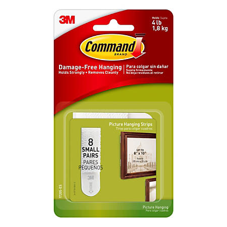 3M™ Command™ Damage-Free Picture Hanging Strips, Small, Pack Of 16