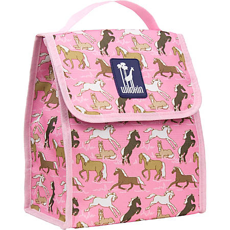 Wildkin Munch 'N Lunch Bag, Horses In Pink