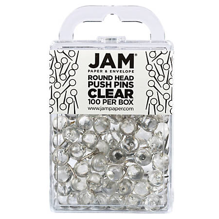 "JAM Paper® Colorful Push Pins, 1/2"", Clear"