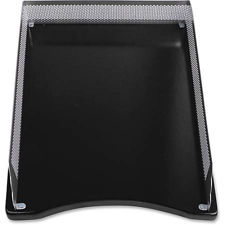 Lorell Metal/Wood 2-color Front Load Tray - Desktop - Silver, Black - Metal, Medium Density Fiberboard (MDF), Wood - 1Each