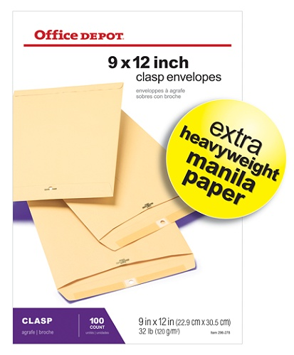 office depot brand clasp envelopes 9 x 12 manila box of 100 by