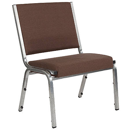 Flash Furniture HERCULES Antimicrobial Fabric Armless Bariatric Medical Reception Chair, Brown/Silvervein