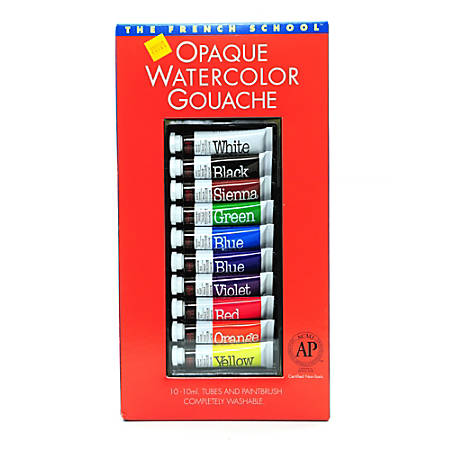 Savoir-Faire The French School Opaque Watercolor Gouache Tube Set, 10 mL, Set Of 10