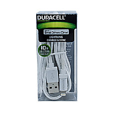 Duracell Fabric Lightning Cable 10 White