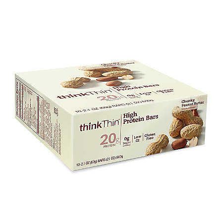 thinkTHIN High Protein Bars, Chunky Peanut Butter, 2.1 Oz, Pack Of 10