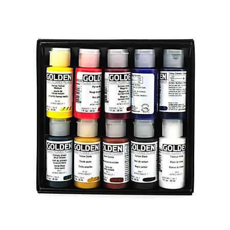 Golden Principal 10 Fluid Acrylic Set, 1 Oz, Set Of 10