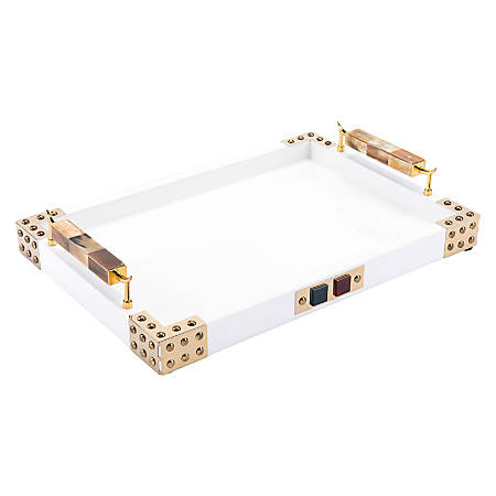 Zuo Modern Rectangular Tray With Horn And Agate Handle, Gold/White