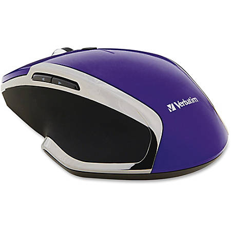 Verbatim® Wireless USB Notebook 6-Button Deluxe Blue LED Mouse, Purple