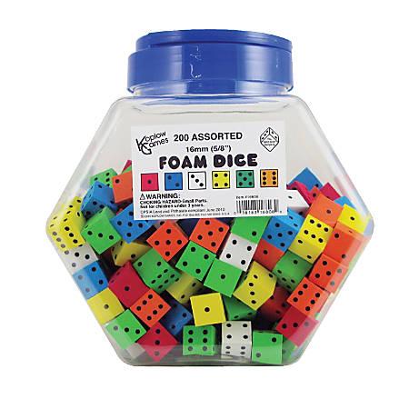 Koplow Games Spot 16mm Foam Dice, Assorted Colors, Ages 5-18