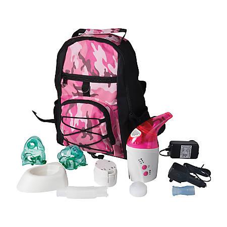 """MABIS NebPak UltraSonic Nebulizer, 6 1/2""""H x 4 5/8""""W x 2 3/8""""D, Pink/White"""