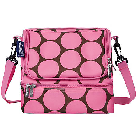 """Wildkin Double Decker Lunch Bag, 8""""H x 9""""W x 7""""D, Big Dot Pink"""