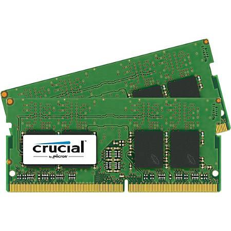 Crucial 16GB (2 x 8 GB) DDR4 SDRAM Memory Module - 16 GB (2 x 8 GB) - DDR4-2400/PC4-19200 DDR4 SDRAM - CL17 - 1.20 V - Non-ECC - Unbuffered - 260-pin - SoDIMM
