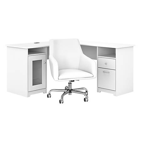 """Bush Furniture Cabot 60""""W L-Shaped Desk With Mid-Back Leather Box Chair, White, Standard Delivery"""