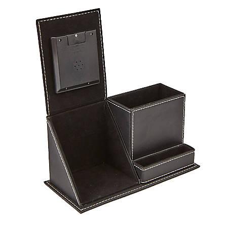 Mind Reader 3-Compartment Desk Organizer With Clock, Black