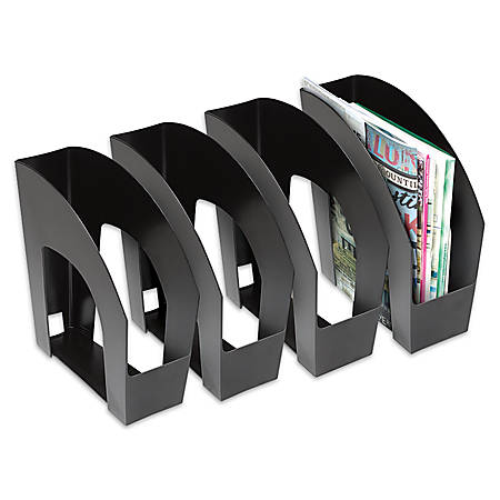 "Office Depot® Brand Arched Plastic Magazine Files, 8 1/2"" x 11"", Black, Pack Of 4"