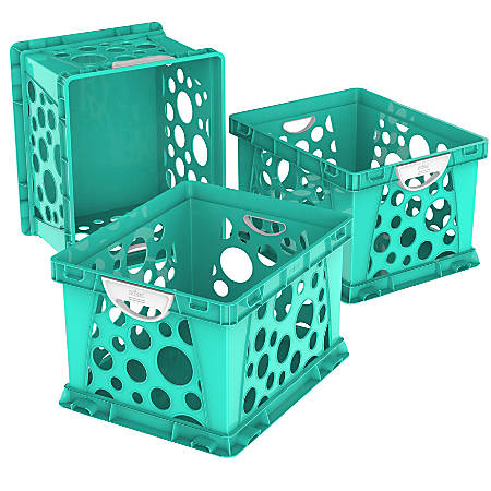 """Storex Large File Crates, With Handles, 10-1/2""""H x 14-1/4""""W x 17-1/4""""D, Classroom Teal, Pack Of 3 Crates"""