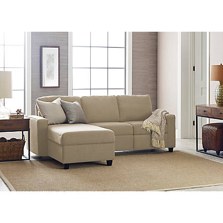 Serta Palisades Reclining Sectional With Storage Chaise, Left, Beige/Espresso