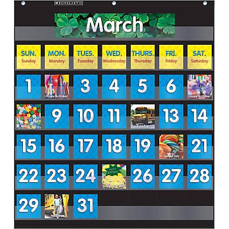 """Scholastic Teacher Resources Pocket Chart, Monthly Calendar, 25"""" x 27 3/4"""", Black, Kindergarten to Grade 5"""