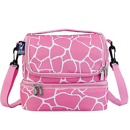 """Wildkin Double Decker Lunch Bag, 8""""H x 9""""W x 7""""D, Pink Giraffe"""