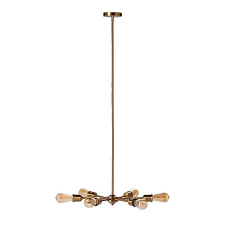 "Southern Enterprises Yarrow 6-Light Spoke Pendant Lamp, 47-3/4""H, Antique Brass"