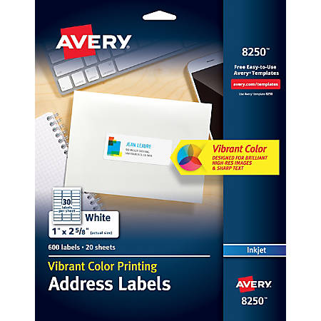 "Avery® Color Printing Labels, 8250, 1"" x 2 5/8"", White, Pack of 600"