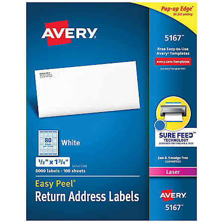 avery easy peel permanent laser address labels return 12 x 1 34 fsc